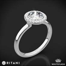 18k White Gold Ritani 1RZ1851 Bezel-Set Halo Solitaire Engagement Ring | Whiteflash