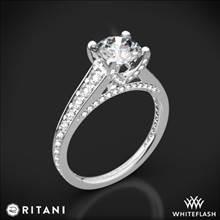 18k White Gold Ritani 1RZ2378 Tapered Pave Diamond Engagement Ring | Whiteflash