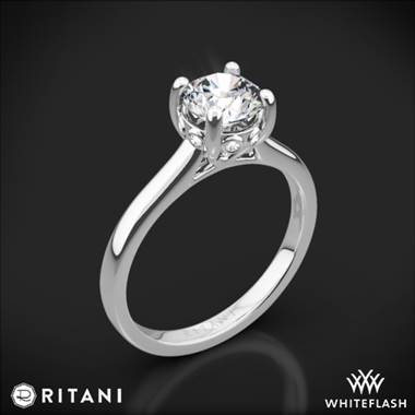 18k White Gold Ritani 1RZ2465 Surprise Diamond Solitaire Engagement Ring