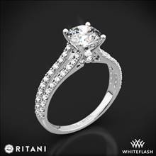 18k White Gold Ritani 1RZ2488 Double French-Set 'V' Diamond Engagement Ring | Whiteflash
