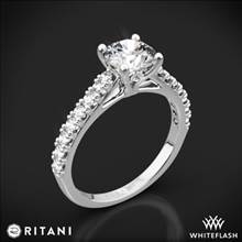 18k White Gold Ritani 1RZ2489 French-Set Diamond Engagement Ring | Whiteflash