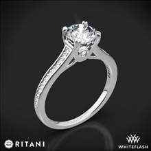 18k White Gold Ritani 1RZ2493 Micropave Diamond Engagement Ring | Whiteflash