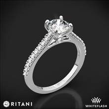 18k White Gold Ritani 1RZ2498 French-Set Diamond Engagement Ring | Whiteflash
