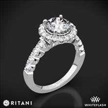 18k White Gold Ritani 1RZ2720 Masterwork Halo Diamond Engagement Ring | Whiteflash