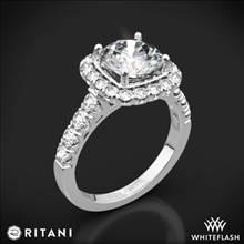 18k White Gold Ritani 1RZ2817 Masterwork Cushion Halo Diamond Engagement Ring | Whiteflash