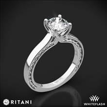 18k White Gold Ritani 1RZ2828 Braided Solitaire Engagement Ring   Whiteflash