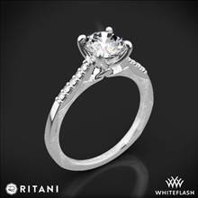 18k White Gold Ritani 1RZ2841 Modern French-Set Diamond Engagement Ring | Whiteflash