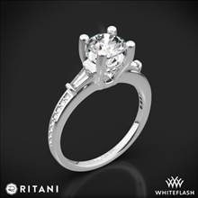 18k White Gold Ritani 1RZ3051 Tapered Baguette Three Stone Engagement Ring | Whiteflash