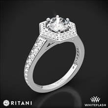 18k White Gold Ritani 1RZ3105 Vintage Hexagonal Halo Vaulted Diamond Engagement Ring   Whiteflash