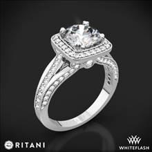 18k White Gold Ritani 1RZ3154 Masterwork Cushion Halo Vaulted Milgrain Diamond Engagement Ring | Whiteflash