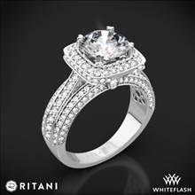 18k White Gold Ritani 1RZ3156 Masterwork Cushion Halo Triple Diamond Engagement Ring | Whiteflash
