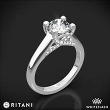 18k White Gold Ritani 1RZ3245 Pave Tulip Solitaire Engagement Ring | Whiteflash