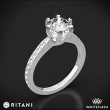 18k White Gold Ritani 1RZ3268 6 Prong Micropave Diamond Engagement Ring | Whiteflash