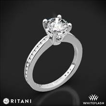 18k White Gold Ritani 1RZ3447 Tapered Channel-Set Diamond Engagement Ring | Whiteflash