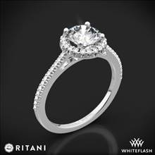 18k White Gold Ritani 1RZ3702 French-Set Halo Diamond Engagement Ring | Whiteflash