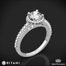18k White Gold Ritani 1RZ3705 French-Set Halo Diamond Engagement Ring | Whiteflash