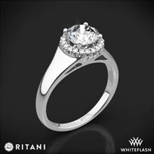 18k White Gold Ritani 1RZ3728 French-Set Halo Tapered Band Solitaire Engagement Ring | Whiteflash