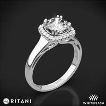 18k White Gold Ritani 1RZ3780 Cushion French-Set Halo Solitaire Engagement Ring | Whiteflash