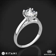 18k White Gold Ritani 1RZ7232 Cathedral Tulip Solitaire Engagement Ring | Whiteflash