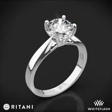 18k White Gold Ritani 1RZ7244 Tapered Surprise Diamonds Solitaire Engagement Ring | Whiteflash