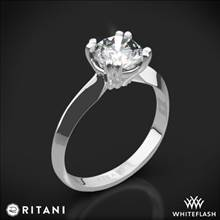 18k White Gold Ritani 1RZ7262 Knife-Edge Tulip Solitaire Engagement Ring | Whiteflash