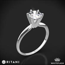 18k White Gold Ritani 1RZ7295 Six-Prong Knife-Edge Solitaire Engagement Ring | Whiteflash