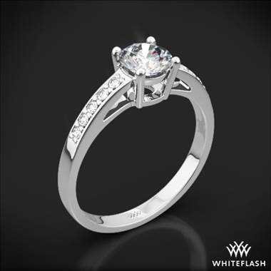 18k White Gold Rounded Open Cathedral Diamond Engagement Ring