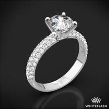 18k White Gold Rounded Pave Diamond Engagement Ring | Whiteflash