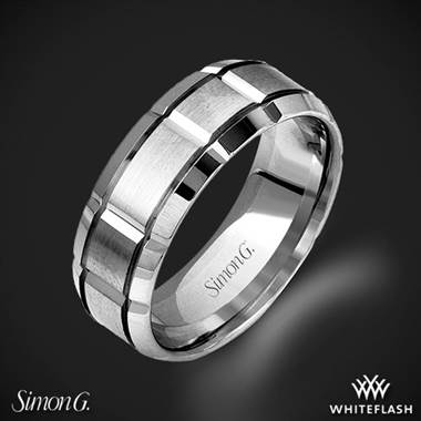 18k White Gold Simon G. LG112 Men's Wedding Ring