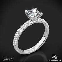18k White Gold Simon G. LP1935-D Delicate Diamond Engagement Ring for Princess | Whiteflash