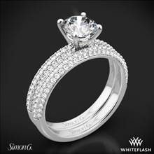 18k White Gold Simon G. LP1935-D Delicate Diamond Wedding Set | Whiteflash