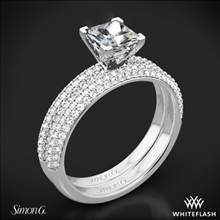 18k White Gold Simon G. LP1935-D Delicate Diamond Wedding Set for Princess | Whiteflash