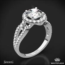 18k White Gold Simon G. LP2027 Passion Halo Diamond Engagement Ring | Whiteflash