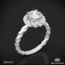 18k White Gold Simon G. LR1133 Classic Romance Halo Diamond Engagement Ring | Whiteflash
