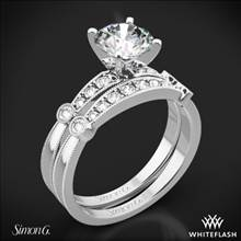 18k White Gold Simon G. MR1546-D Delicate Diamond Wedding Set | Whiteflash
