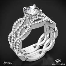 18k White Gold Simon G. MR1596 Fabled Diamond Wedding Set | Whiteflash