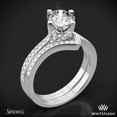 18k White Gold Simon G. MR1609 Caviar Diamond Wedding Set