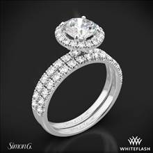18k White Gold Simon G. MR1811 Passion Halo Diamond Wedding Set | Whiteflash