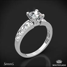 18k White Gold Simon G. MR1825-S Caviar Diamond Engagement Ring for Princess | Whiteflash