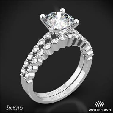 18k White Gold Simon G. MR2173 Delicate Diamond Wedding Set