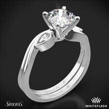 18k White Gold Simon G. MR2342 Dutchess Three Stone Wedding Set | Whiteflash
