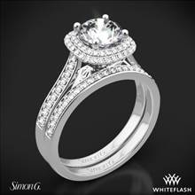 18k White Gold Simon G. MR2395 Passion Halo Diamond Wedding Set   Whiteflash