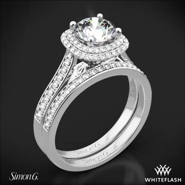 18k White Gold Simon G. MR2395 Passion Halo Diamond Wedding Set