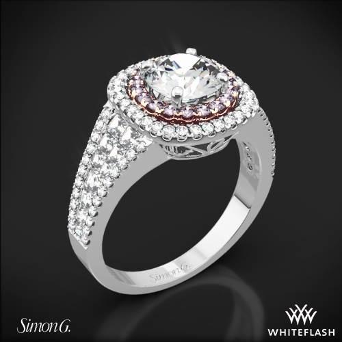 18k White Gold Simon G. MR2453 Passion Double Halo Diamond Engagement Ring