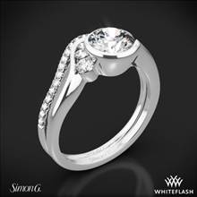 18k White Gold Simon G. MR2549 Fabled Bezel Solitaire Wedding Set | Whiteflash