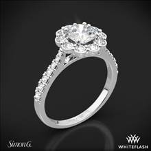 18k White Gold Simon G. MR2573 Passion Halo Diamond Engagement Ring | Whiteflash
