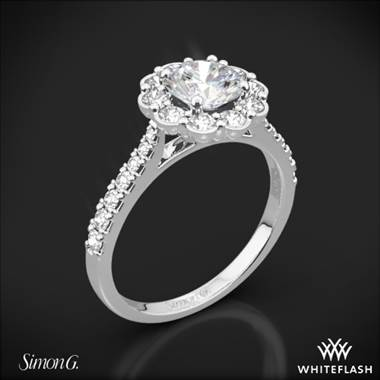 18k White Gold Simon G. MR2573 Passion Halo Diamond Engagement Ring
