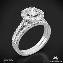 18k White Gold Simon G. MR2573 Passion Halo Diamond Wedding Set | Whiteflash