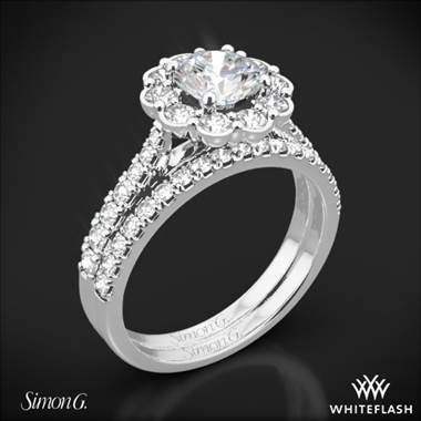 18k White Gold Simon G. MR2573 Passion Halo Diamond Wedding Set