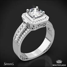 18k White Gold Simon G. NR453 Passion Halo Diamond Engagement Ring | Whiteflash